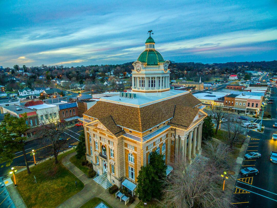 stunning areal photo of Giles County Court House